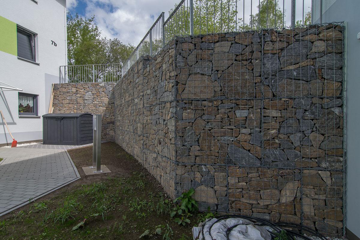 HTA - Gabionenwand auf der Ilmhöhe in Zschopau